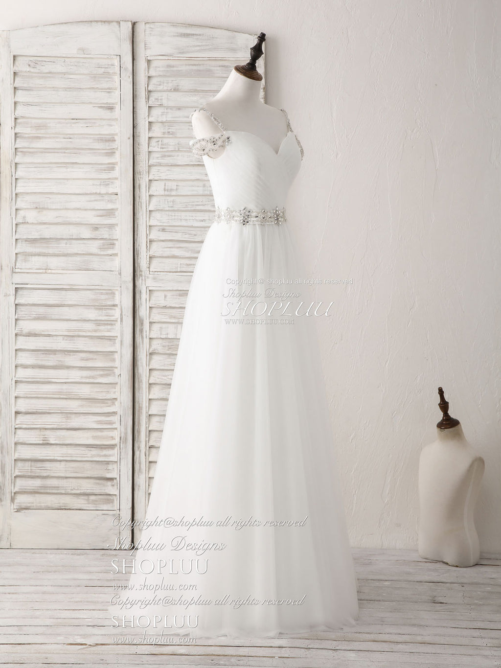 White off shoulder tulle beads long prom dress white evening dress