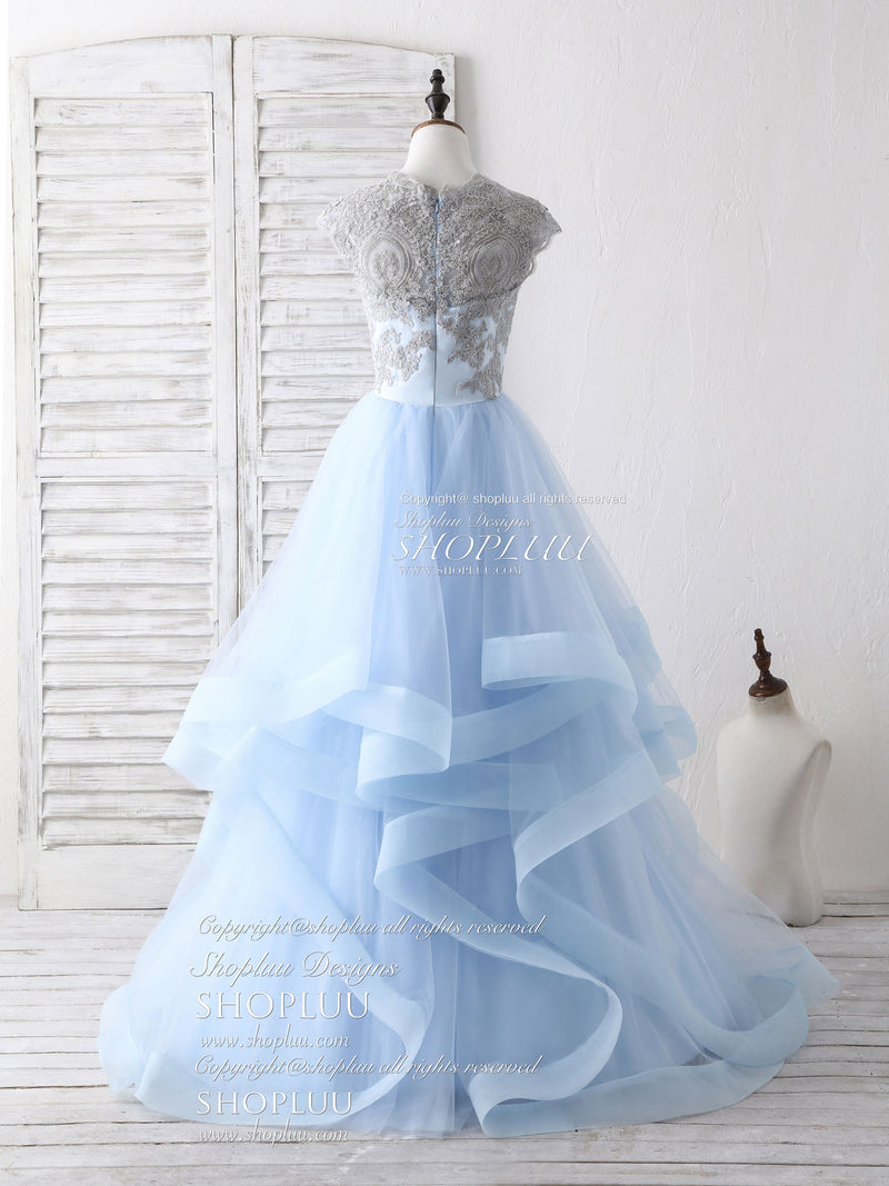 Blue tulle lace applique long prom dress blue tulle sweet 16 dress