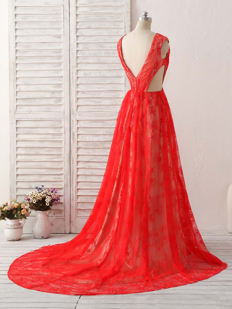 Red v neck lace long prom dress, lace evening dress