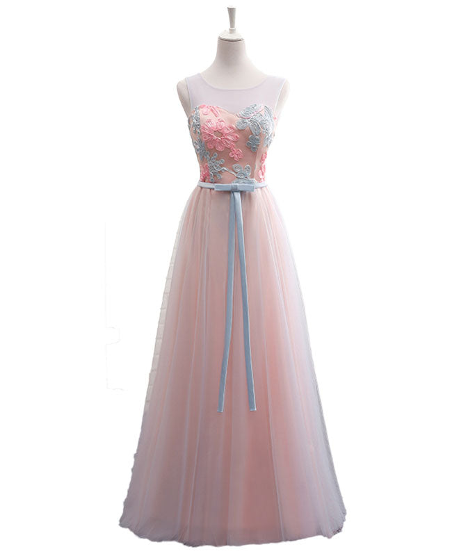 Pink A line round neck lace tulle long prom dress, evening dress