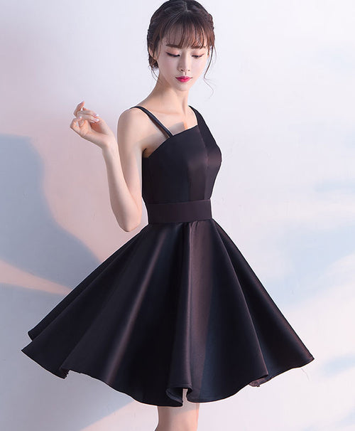 Simple black satin short prom dress, homecoming dress