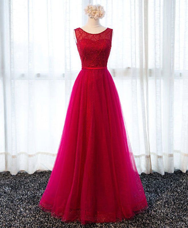A line round neck tulle long prom dress, lace evening dress