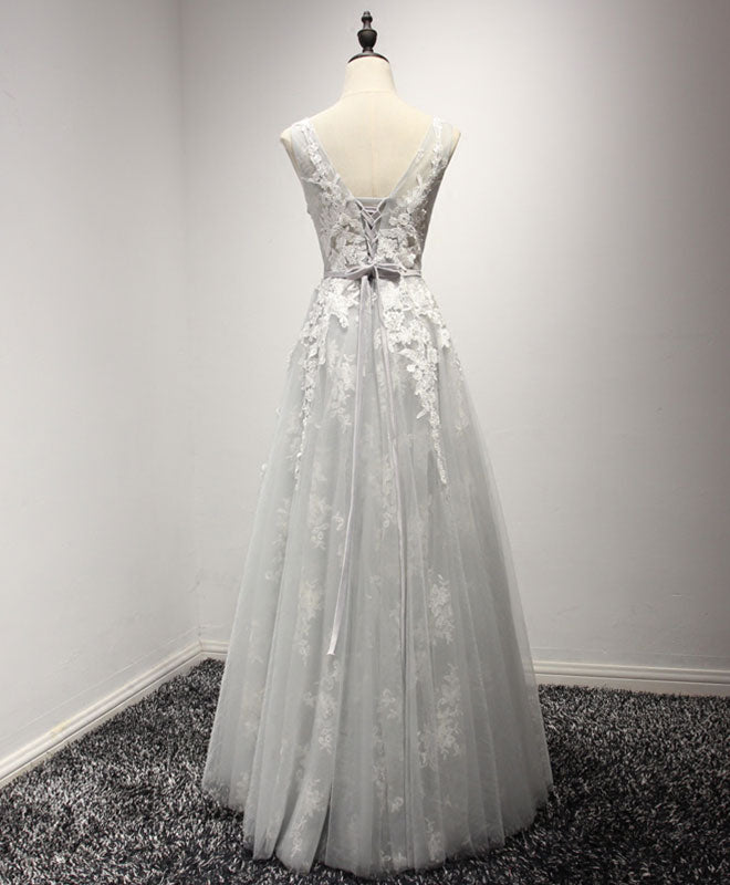 Gray A line tulle lace long prom dress, cheap evenin dress
