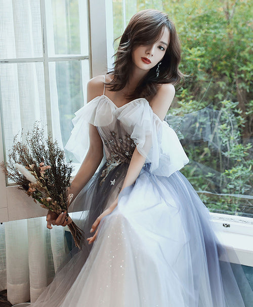 Blue sweetheart tulle lace long prom dress tulle lace formal dress
