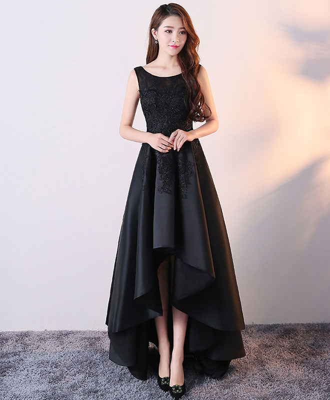 Black round neck satin lace high low prom dress, black homecoming dress