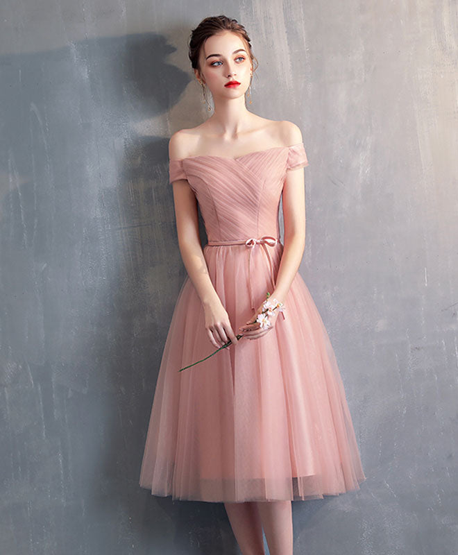 Simple pink tulle bridesmaid dress, prom dress, wedding party dress