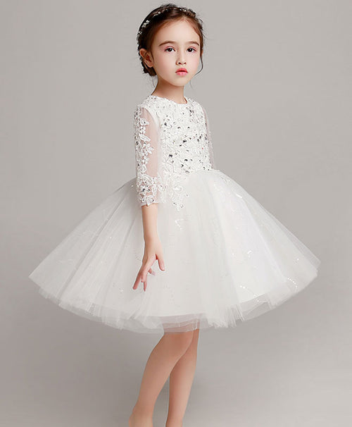 White tulle lace flower girl dress, girl party dress