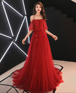 Unique red tulle lace long prom dress tulle red evenig dress
