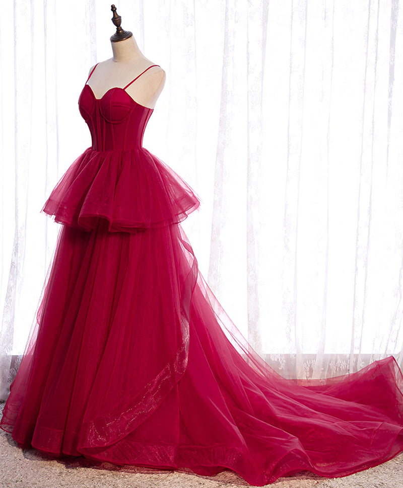 Simple burgundy tulle long prom dress tulle formal dress