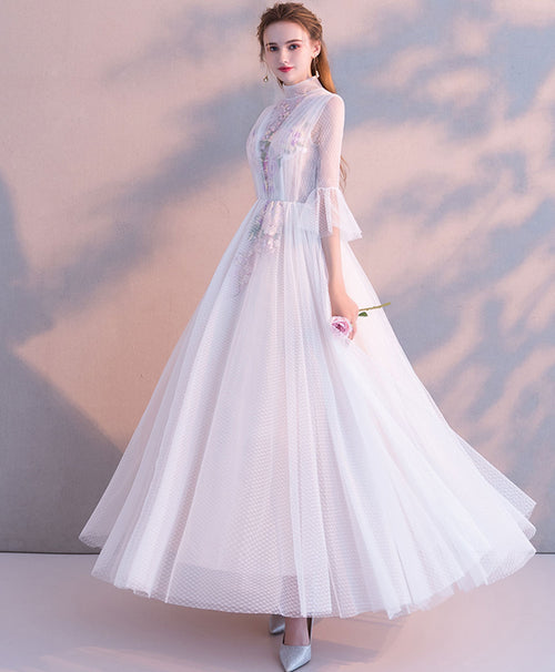 White high neck tulle lace tea long prom dress bridesmaid dress
