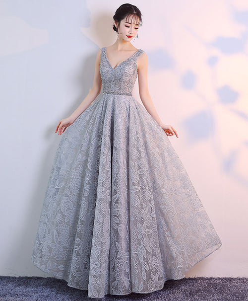 Gray v neck tulle lace long prom dress, gray lace evening dress