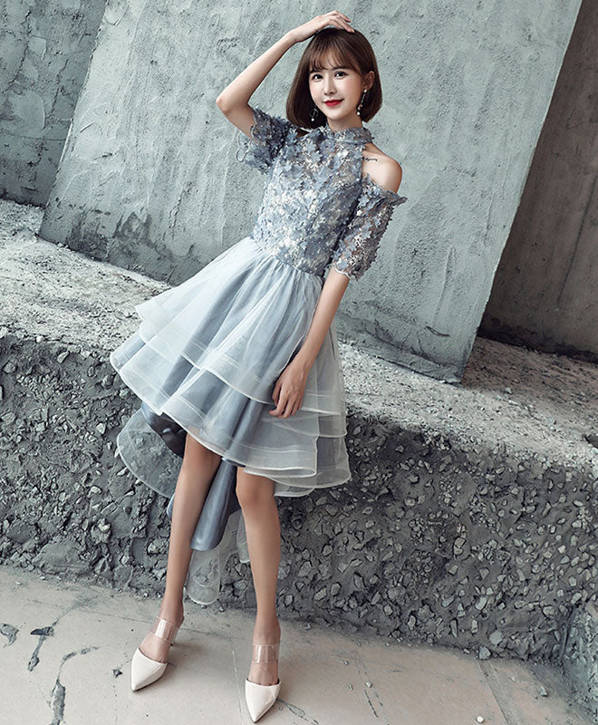 Gray tulle lace applique high low prom dress, gray homecoming dress