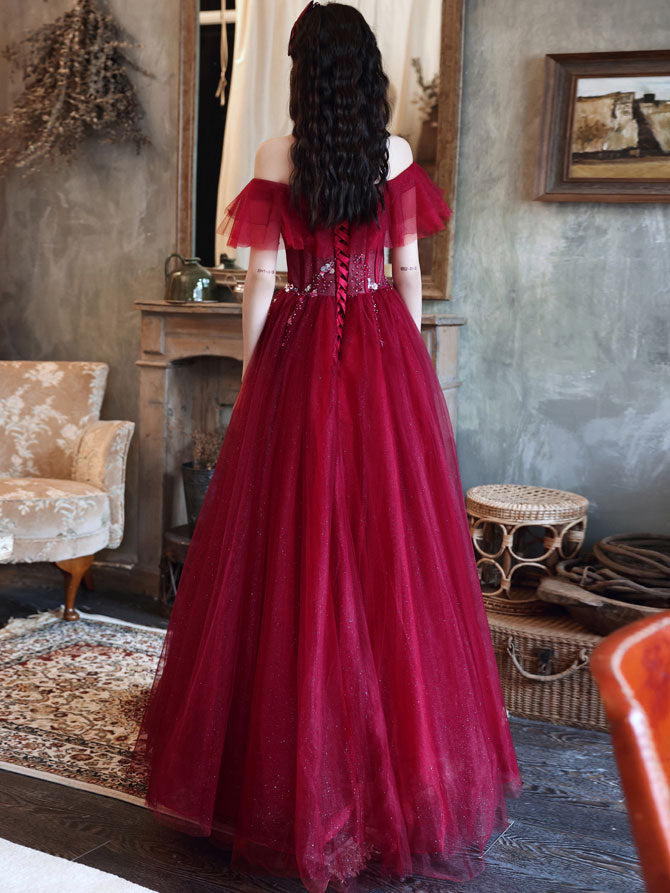 Burgundy off shoulder tulle sequin long prom dress burgundy evening dress