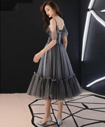 Gray v neck tulle short prom dress, gray tulle evening dress