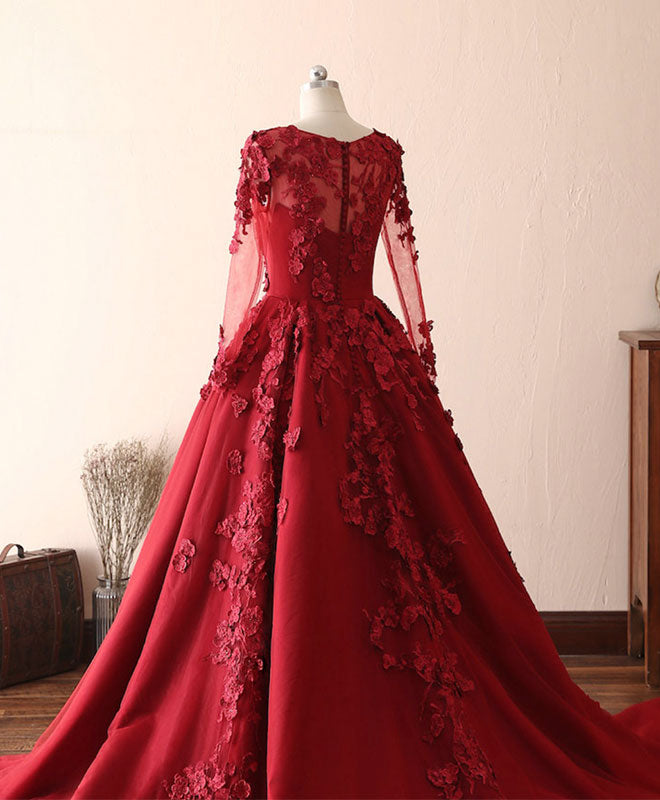 Burgundy lace satin long prom dress, burgundy lace evening dress