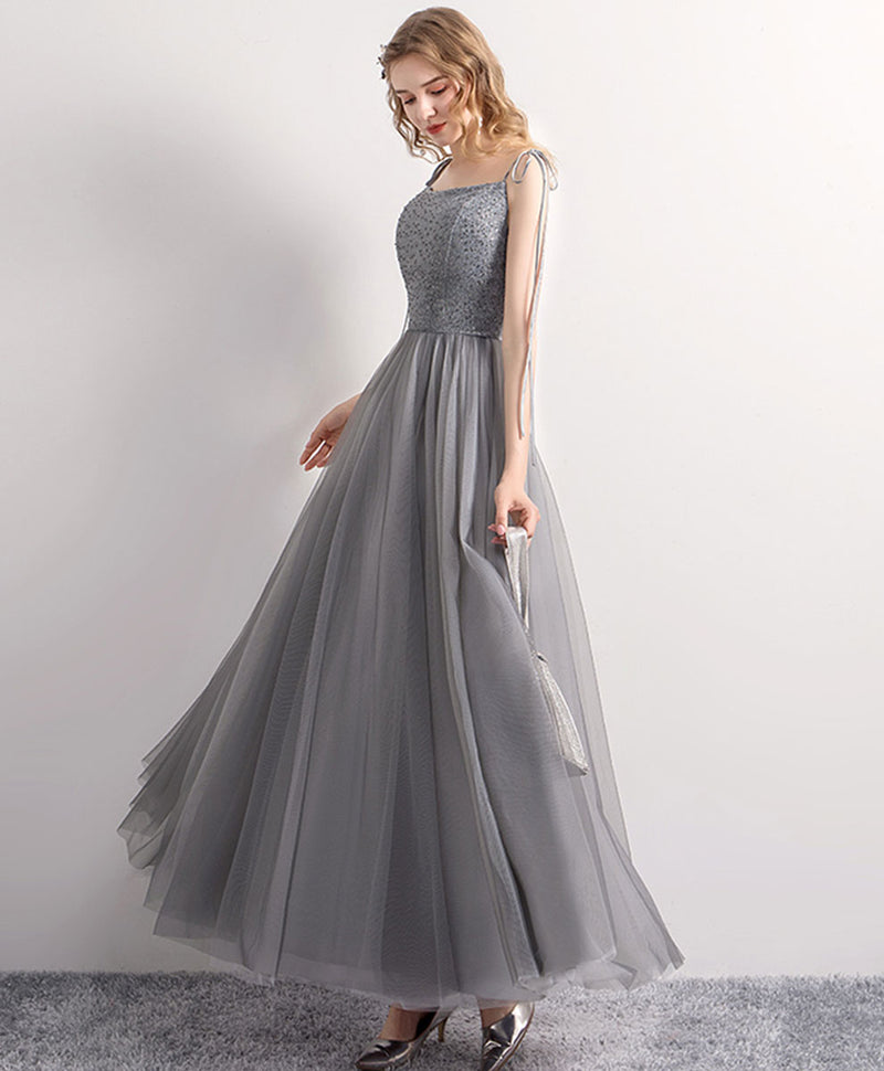 Gray tulle sequin tea length prom dress gray tulle formal dress