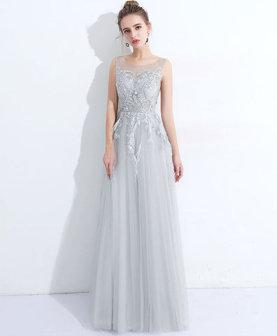 Gray round neck lace tulle long prom dress, evening dress