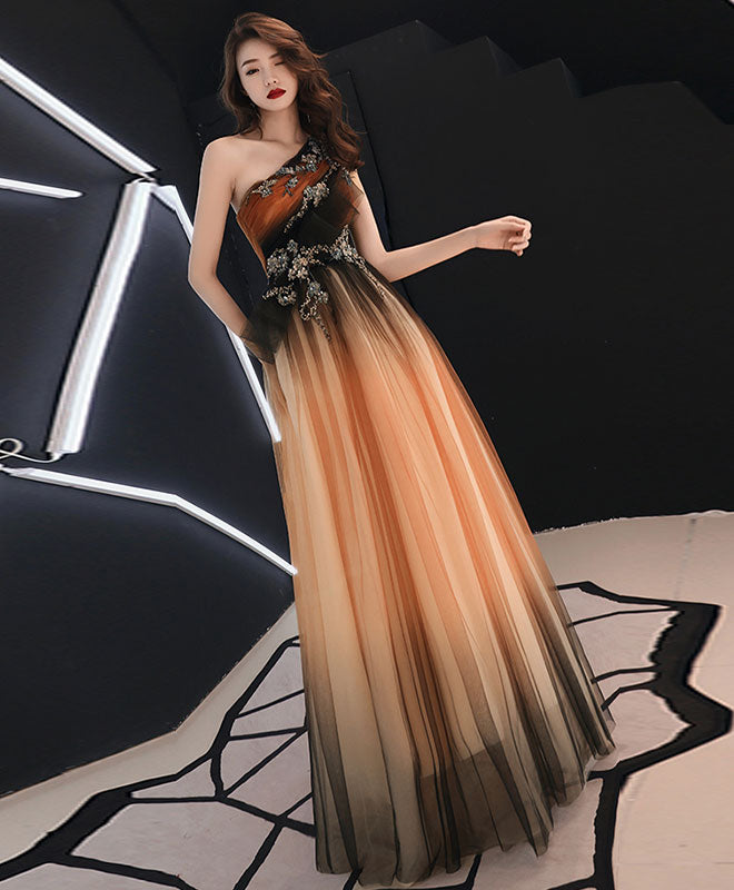 Unique chiffon lace one shoulder long prom dress, evening dress