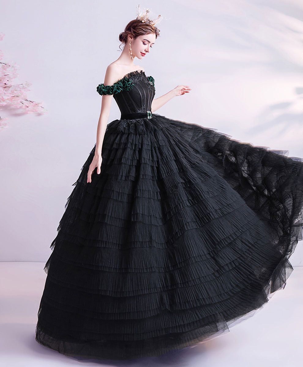 Black tulle off shoulder long prom dress black sweet 16 dress