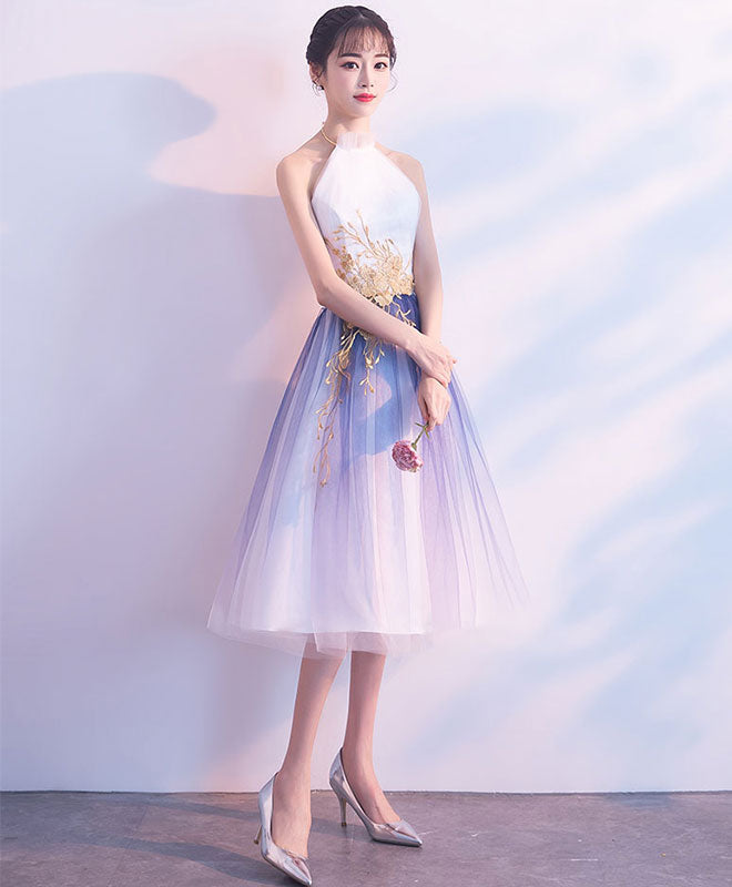 Cute tulle lace applique short prom dress, tulle evening dress