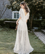 White v neck lace high low prom dress white lace formal dress