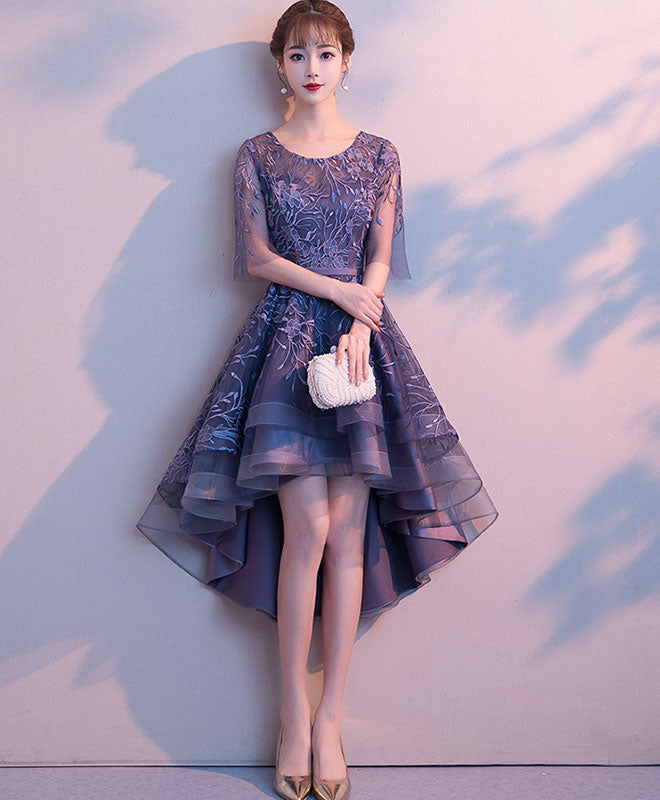 Purple tulle lace short prom dress, purple evening dress