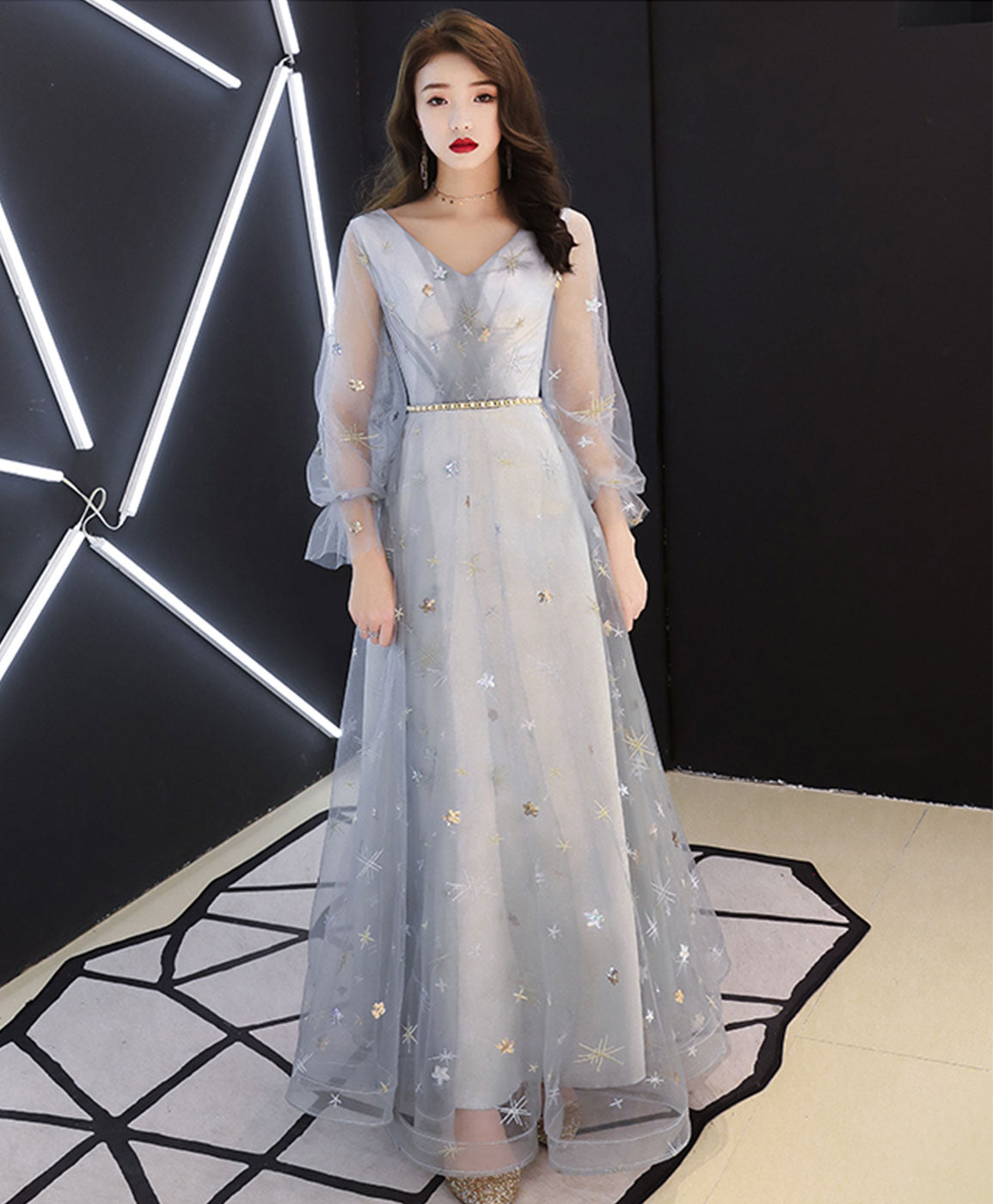 Gray v neck tulle lace long prom dress tulle evening dress
