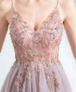 Unique v neck tulle beads long prom dress tulle formal dress