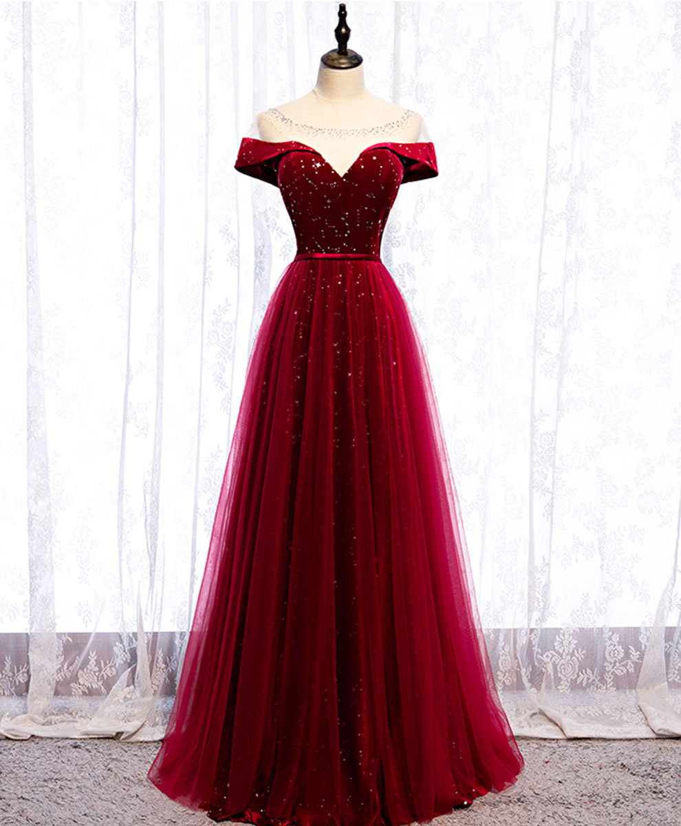 Burgundy round neck tulle sequin long prom dress tulle formal dress