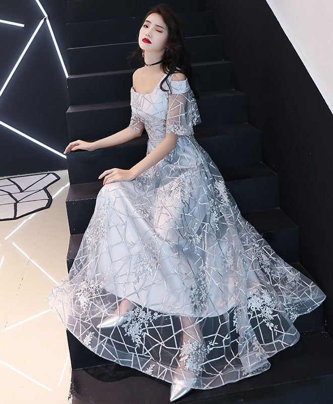 Gray tulle lace one shoulder long prom dress lace evening dress