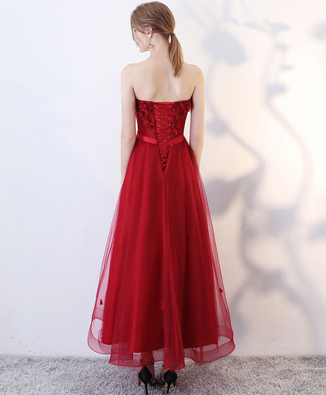 Burgundy sweetheart tulle lace tea length prom dress, evening dress