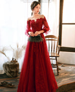 Burgundy round neck tulle beads long prom dress burgundy evening dress