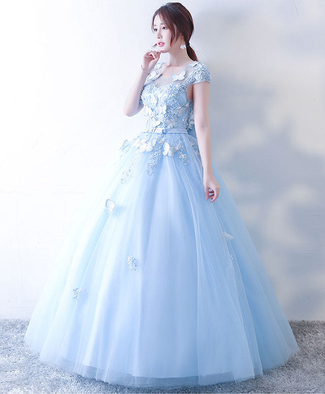 Blue tulle lace long prom dress, blue sweet 16 dress