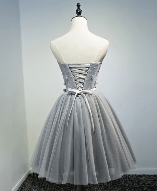 Gray sweetheart neck tulle lace short prom dress, homecoming dress