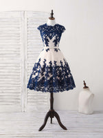 Dark blue lace tulle short prom dress blue bridesmaid dress