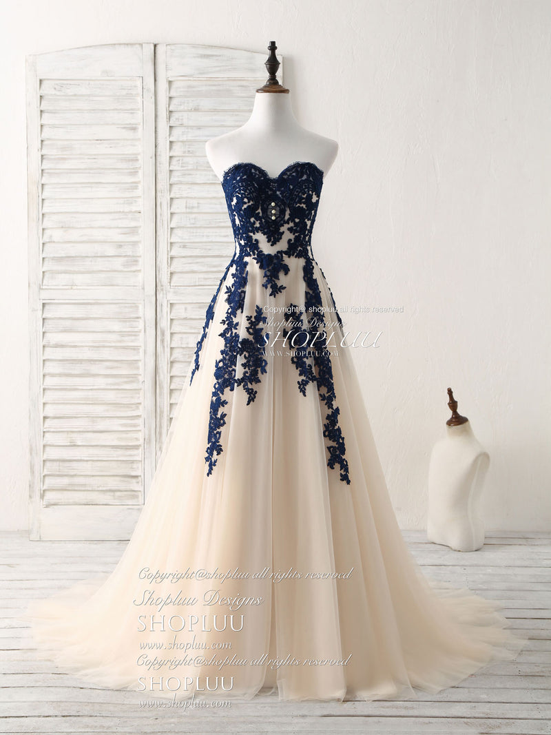 A-line sweetheart tulle lace applique long prom dress, bridesmaid dress
