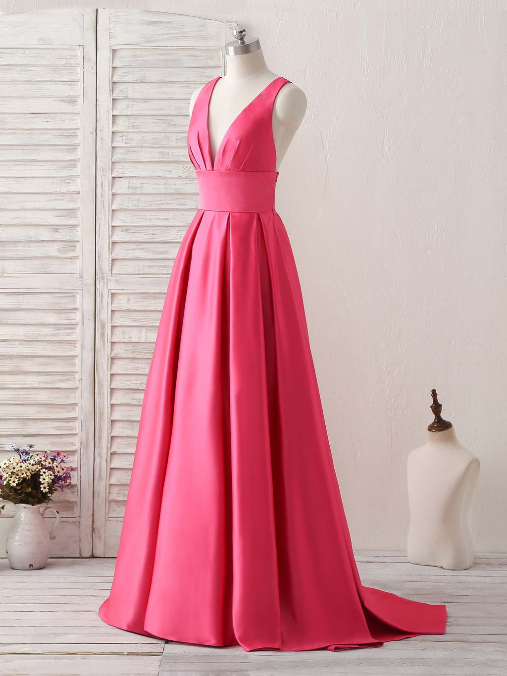Simple v neck long prom dress backless evening dress