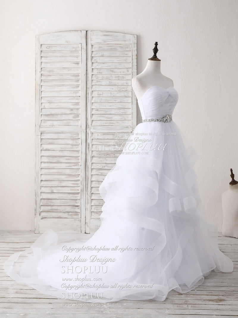 White sweetheart neck tulle long prom dress, white wedding dress