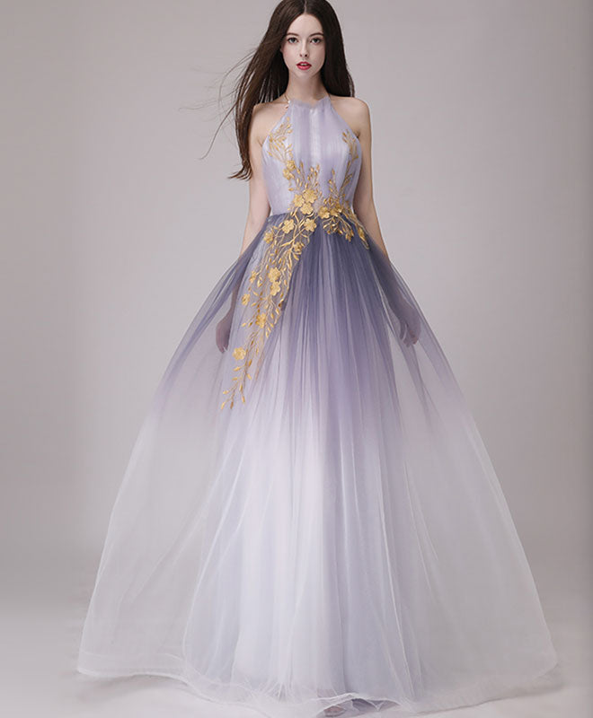 Simple tulle lace long prom dress, tulle evening dress
