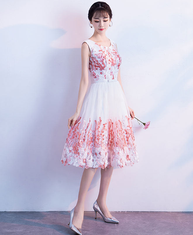 Pink round neck lace tulle short prom dress, pink homecoming dress