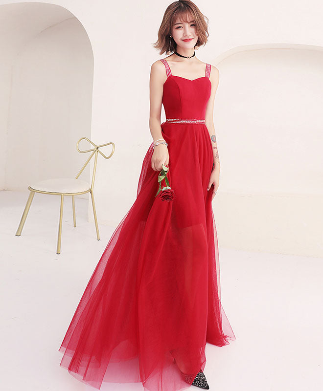 Red sweetheart tulle long prom dress, red evening dress