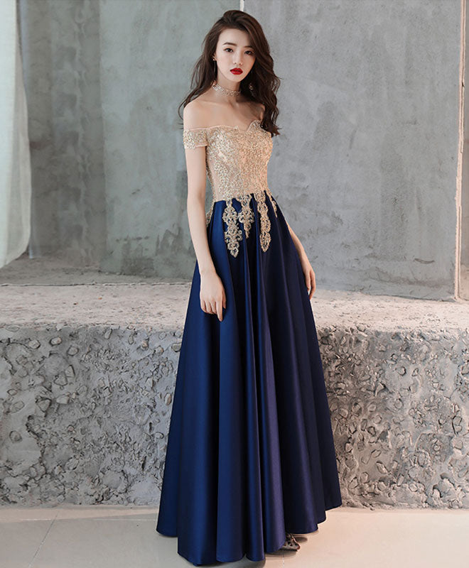 a243028f8a Dark blue sweetheart lace satin long prom dress