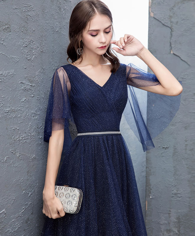 Dark blue sequin tulle long prom dress, dark blue evening dress