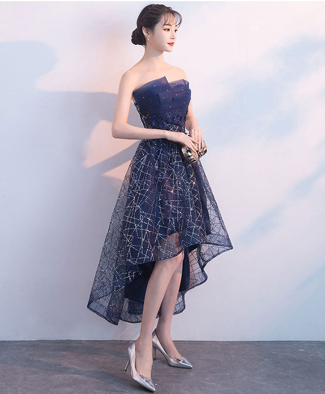 Dark blue tulle sequin high low prom dress, blue evening dress