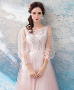 Simple pink tulle lace short prom dress, pink evening dress