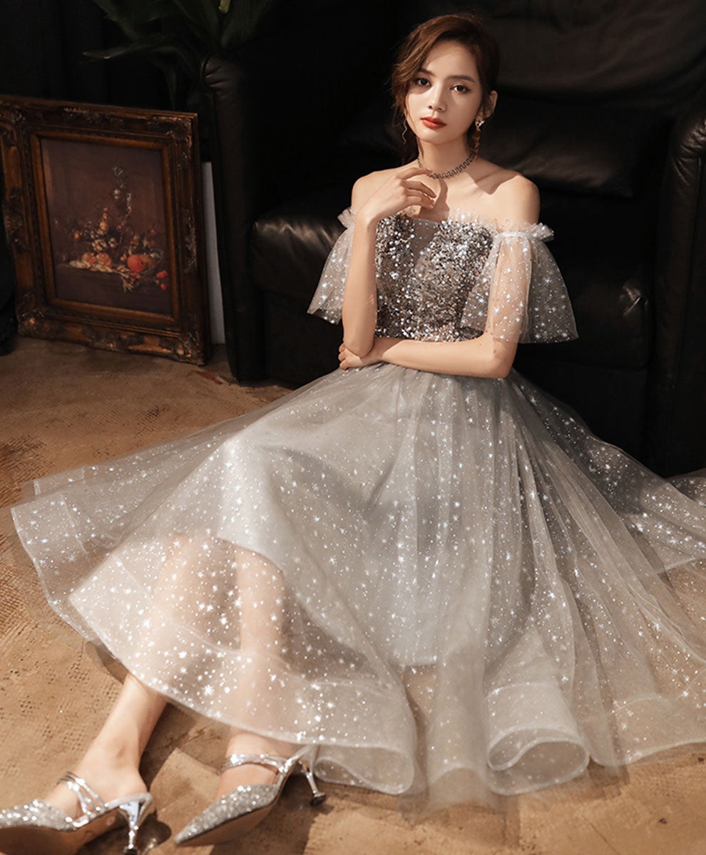 Gray tulle sequin short prom dress gray homecoming dress