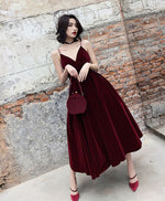 Simple burgundy tea Length prom dress, burgundy bridesmaid dress