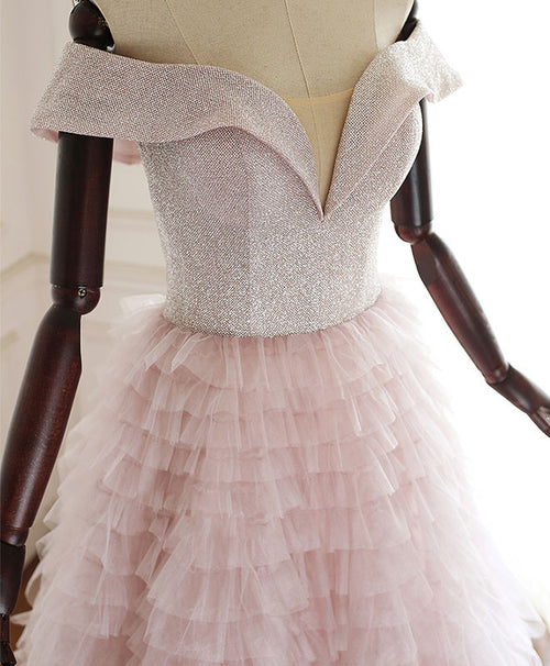 Pink sweetheart off shoulder tulle long prom dress pink evening dress
