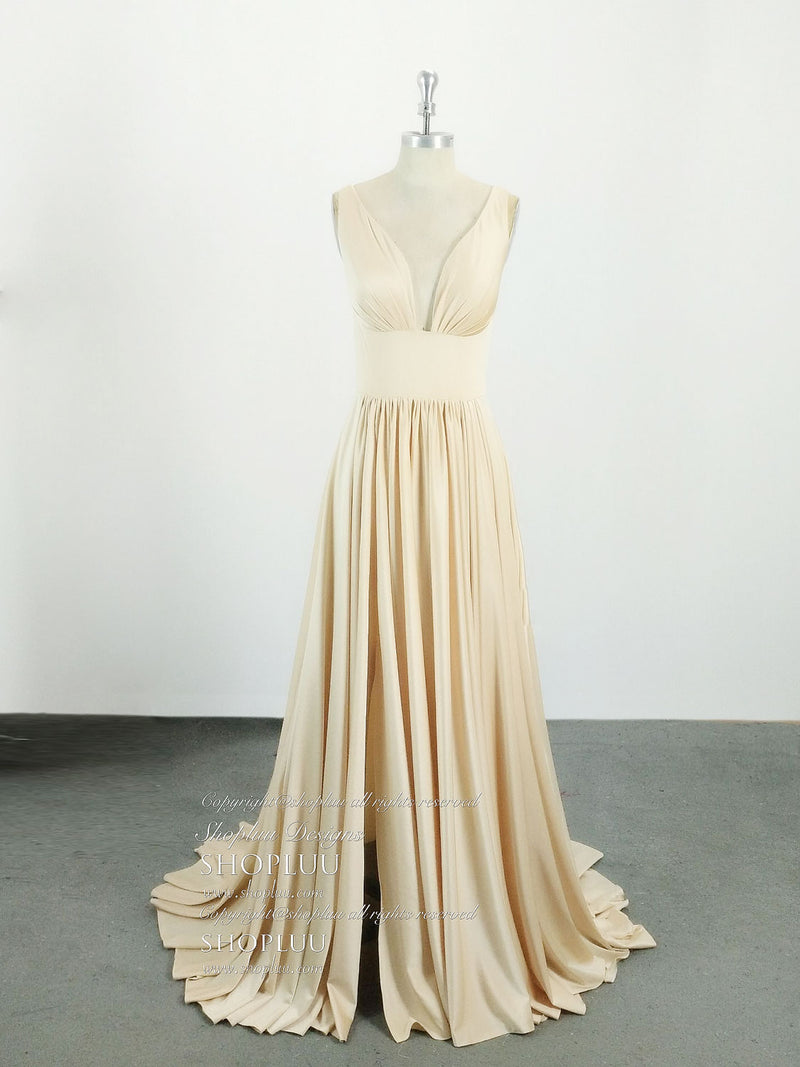 Simple v neck champagne satin long prom dress, champagne bridesmaid dress