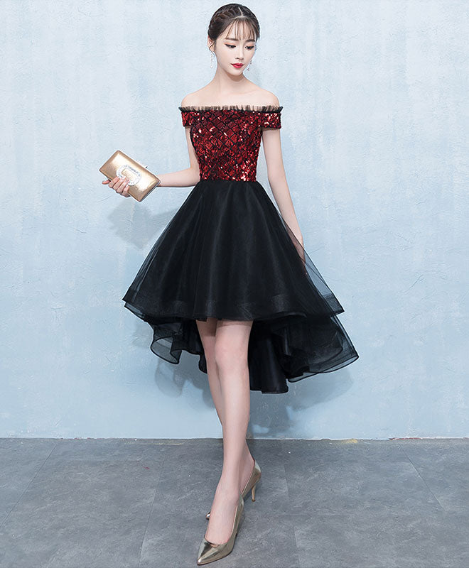 Burgundy sequin tulle short prom dress, homecoming dress